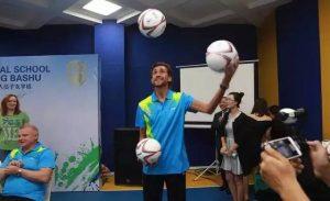 Ruslan Nigmatullin displayed his soccer juggling skills juggling for the crowd.